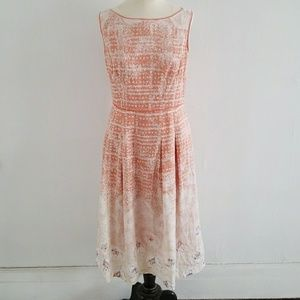 ELIE TAHARI linen peach and floral sundress